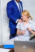 Sexual Harassment Between Colleagues And Flirting In Office. Businessman Sexually Harassing Female C poster
