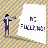 Writing Note Showing No Bullying. Business Photo Showcasing Forbidden Abuse Harassment Aggression As poster