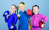 Girls Kids With Boxing Sport Equipment And Boy Tennis Player. Ways To Help Kids Find Sport They Enjo poster