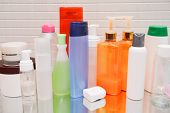 Cosmetics, Moisturizer, Bottle. Different Cosmetic Bottles On Background. Set Cosmetic Products. Cos poster