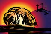 Easter Jesus Christ Rose From The Dead. Sunday Morning. Dawn. The Empty Tomb In The Background Of Th poster