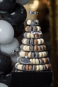 Luxury Wedding Candy Bar Table Set. Macaron Tower Or Pyramid On Sweet Dessert Table. Pastel Stylish  poster