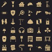 Construction Production Icons Set. Simple Style Of 36 Construction Production Vector Icons For Web F poster