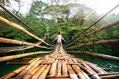 Back View Of Young Woman On Suspension Wooden Bamboo Bridge Across Loboc River In Jungle. Vacation O poster