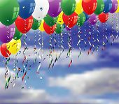 vector party background with confetti and balloons on sky