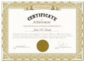 Vector illustration of detailed gold certificate