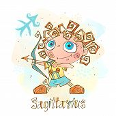 Childrens Horoscope Icon. Zodiac For Kids. Sagittarius Sign . Vector. Astrological Symbol As Cartoon poster