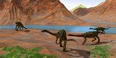Anchisaurus Dinosaurs 3d Illustration - Prosauropod Anchisaurus Dinosaurs Gather Together To Keep Wa poster