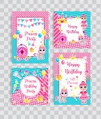Happy Birthday Set Greeting Or Invitation Cards For A Little Princess In Lol Doll Surprise Style. Te poster