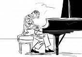 Piano Player. The Musician Plays The Grand Piano. Musician On Stage. Black Silhouette On White Backg poster