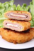fried cordon blue and salad