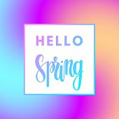 Promotional Design Poster With Welcome Text Hello Spring And Colorful Magic Imagine Gradient Magic B poster