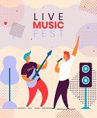 Modern Cartoon Flat Characters Musical Band Guitarist,singer On Music Fest,concert,open Air,hand Dra poster
