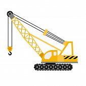 Construction Excavator Crane Icon. Flat Illustration Of Construction Excavator Crane Vector Icon For poster