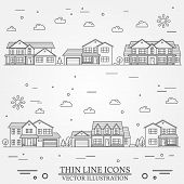 Neighborhood With Homes Illustrated On White. Vector Thin Line Icon Suburban American Houses. For We poster