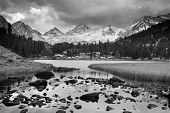 Dramatic Mountain Landscape, Black and White Image