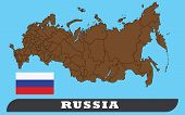 Map Of Russia And Flag Of Russia . Map Of Russia And Flag Of Russia Drawing By Illustration. poster