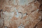 Retro Abstract Closeup Of Brown Ruined Wall. Brown Cement Concrete Stucco. Brown Stucco Wall Backgro poster