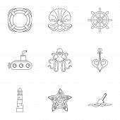 Sea Adventure Icons Set. Outline Style Set Of 9 Sea Adventure Icons For Web Design poster