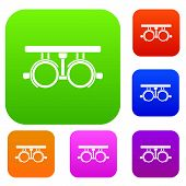 Trial Frame For Checking Patient Vision Set Icon In Different Colors Isolated Illustration. Premium  poster