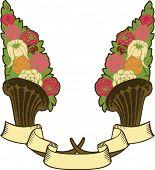 stock photo of horn plenty  - vintage horn of plenty - JPG