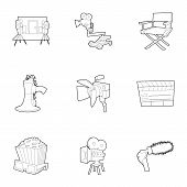 Movie Production Icons Set. Outline Set Of 9 Movie Production Icons For Web Isolated On White Backgr poster