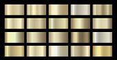 Gold Metallic, Bronze, Silver, Chrome, Copper Metal Foil Texture Gradient Template. Vector Golden poster