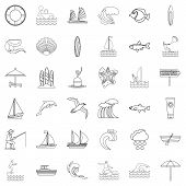 Water Creation Icons Set. Outline Style Of 36 Water Creation Icons For Web Isolated On White Backgro poster