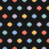 Cute Colorful Dots Seamless Pattern. Vector Texture With Geometric Spots, Confetti On Black Backgrou poster