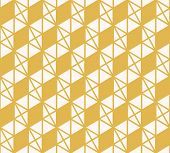 Abstract Triangles Vector Pattern. Yellow And White Geometric Seamless Texture With Small Triangles, poster