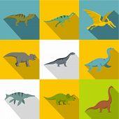 Types Of Dinosaur Icon Set. Flat Style Set Of 9 Types Of Dinosaur Icons For Web Design poster