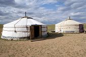 picture of yurt  - Traditional mongolian house - ger or yurt on gobi desert, Mongolia