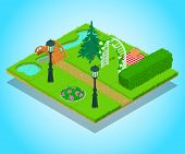 Yard Concept Banner. Isometric Banner Of Yard Concept For Web, Giftcard And Postcard poster