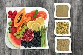 Super food and herbs for weight loss concept with fresh fruit and vegetables with herbs used in herb poster