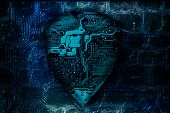 Cyber Security Concept. Protected Guard Shield Circuit Board As The Idea Of Cybersecurity Or Privacy poster