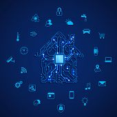 Smart House Or Iot Concept. Remote Control Smart House. House Circuit And Smart Home Appliance Icons poster