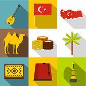 Turkey Symbols Icon Set. Flat Style Set Of 9 Turkey Symbols Icons For Web Design poster
