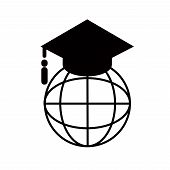 Education Graduation Cap Globe Icon Vector / Graduated Learning Abroad International Ideas. Mortarbo poster
