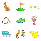 City Park Recreation Icon Set. Cartoon Set Of 9 City Park Recreation Icons For Web Design Isolated O poster