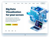 Website Providing The Service Of Big Data Visualization For Your Screen. Concept Of A Landing Page F poster