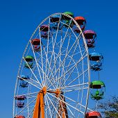 Ferris Wheel. Ferris Wheel In The City Park. Seats For Passengers On The Ferris Wheel. poster