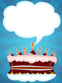 picture of happy birthday  - Greeting Illustration of a cake for happy birthday - JPG