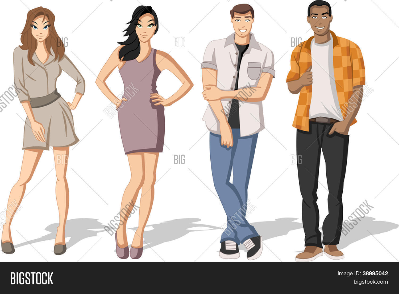 Vectores Y Fotos En Stock De Grupo De Dibujos Animados De Moda De J Venes Adolescentes Bigstock