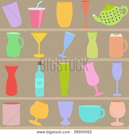 A vector set of Bottle and Glass in Pastel color