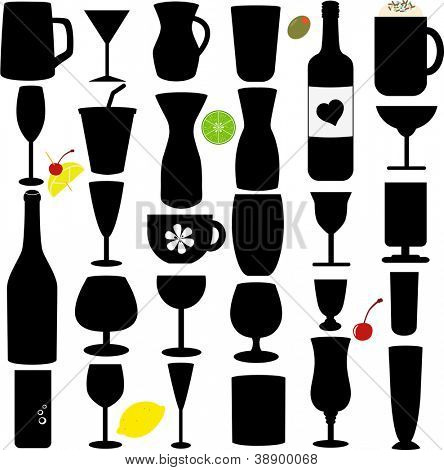 A Silhouette vector set of Bottle and Glass