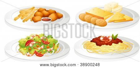 illustration of a various foods on a white background
