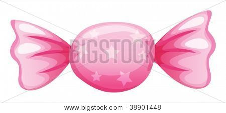 illustration of a pink candy on a white background