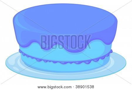 Illustration of an isolated blue cupcake on a white