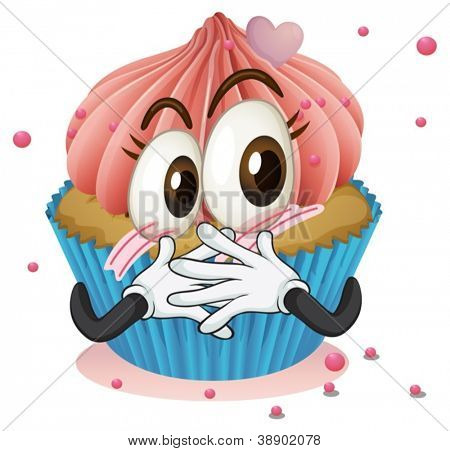 illustration of a cup cake on a white background