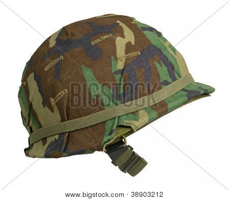 A US military helmet with an M81 Woodland pattern camouflage cover. Woodland is no longer used by the US Army, or the USMC, but the US Navy maintains it for certain units, including the SEALs.